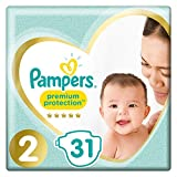 Pampers Premium Protection Baby Windeln, Gr.2 Mini (4-8 kg), Tragepack, 4er Pack (4 x 31 Stück)