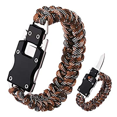 Paracord Knife Bracelet Survival Cord Knife Bracelets, Tactical EDC Paracord Bracelet, Emergency Survival Gear for Hiking Traveling Camping, Paracord Bracelet for Men (Brown Camo)