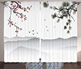 Ambesonne House Decor Curtains by, Chinese Painting Style Artwork with Tree Branches Birds Mountains Landscape Art, Living Room Bedroom Decor, 2 Panel Set, 108 W X 84 L Inches, Red Green