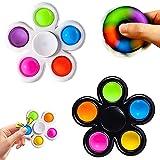 WELLXUNK 2 Piezas Fidget Toy, 2 en 1 Simple Dimple Fidget Toy, Juguetes con hoyuelos, Fidget Juguete, Sensorial Fidget Juguete, para Aliviar el Estrés y la Ansiedad para Niños y Adultos
