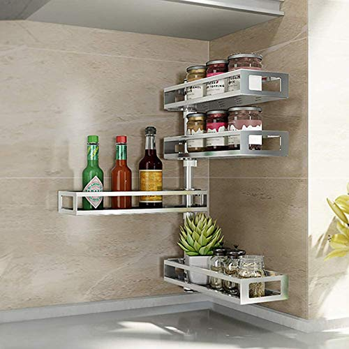 SXFYHXY Bathroom shelves Wall-Mounted Spice Rack, Stainless Steel Rotatable Hanging Organizer, Hanging Shelf for Spice Jars, Punch Installation