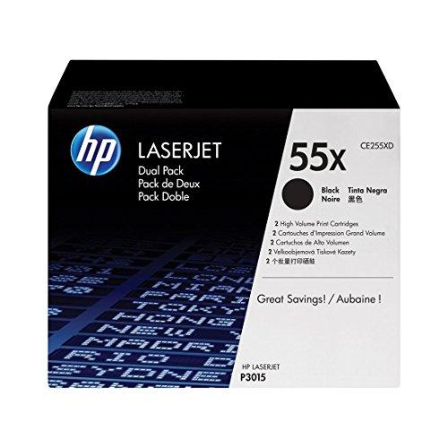 HP 55X | CE255XD | 2 Toner Cartridges | Black | Works with HP LaserJet Enterprise 525, P3015, HP LaserJet Pro M521 | High Yield