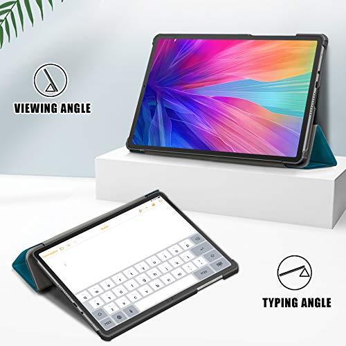 AROYI Hülle Kompatibel mit Huawei MatePad T10S/ T10 2020 und Panzerglas, Ultra Schlank Schutzhülle Hochwertiges PU mit Standfunktion Glas Panzerfolie, Pfauenblau