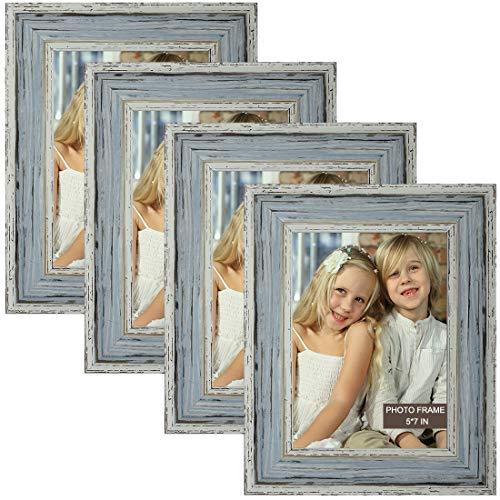 Marcos de fotos de 12 x 18 cm, 4 paquetes de marcos de fotos de madera gris rústico con vidrio real de alta definición, marcos de fotos para exhibición de mesa y decoración de pared