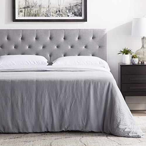 """LUCID Mid-Rise Upholstered Headboard-Adjustable Height from 34"""" to 46"""", King/Cal King, Stone"""