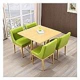 Juego de mesa de comedor para comedor y cocina, mesas y sillas modernas nórdicas Comedor en casa 1 mesa 4 sillas Mesa cuadrada de madera maciza de 90 cm Silla de cuero de ocio retro (Color: Log-Green)