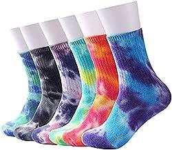 Echolife 6 Pairs Casual Tie-dye Soft Cotton Crew Socks Cushion Novelty Funny Athletic Socks (6 pcs)