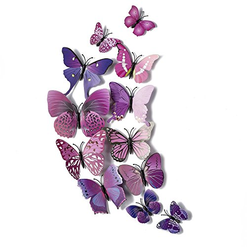 AKOAK 24 Pcs 3D Butterfly Wall Stickers Art Decor Decals with Sponge Gum and Magnet(Purple)