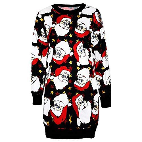 URIBAKY Womens Weihnachten Sweatshirt Damen Weihnachtenkleid Langarm Jumper Pullover Sweatshirtkleid Minikleid Oberteile Longshirt Tunika