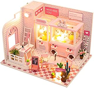 JVSISM Doll House Miniature Dollhouse with Furniture Kit Wooden House Miniature Toys for Children New Year  C009