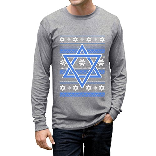TeeStars - Happy Hanukkah Ugly Holiday Sweater Star of David Long Sleeve T-Shirt XX-Large Gray