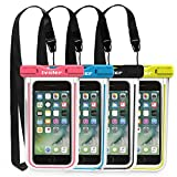 ivoler [4 Pezzi] Custodia Impermeabile Smartphone, IPX8 Universale Borsa Impermeabile Sacchetto Impermeabile Cellulare Dry Bag Waterproof per iPhone, Samsung, Huawei, ECC. (Nero+Blu+Verde+Rosa)
