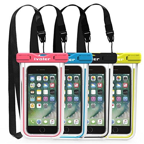 ivoler [4 Pezzi] Custodia Impermeabile Smartphone, IPX8 Universale Borsa Impermeabile...