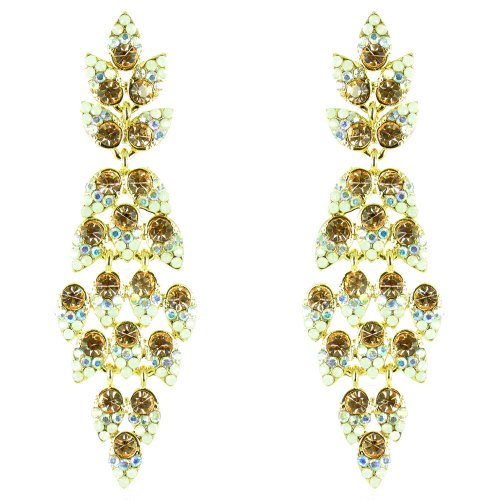 Peach–y cristal transparente chapado en oro de cascada de hojas Classy pendientes