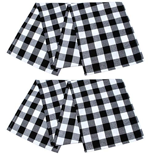 Aneco 2 Pack Table Runner Cotton Checkered Table Runner Trendy Modern Plaid Design Tablerunner Elegant Decor for Indoor Outdoor Events 13 x 72 Inches Black and White