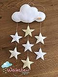 Mobile'Wölkchen' mit beigen Sternen, Baby Mobile aus Filz, Handmade, Dekoration Babyzimmer Geschenk...