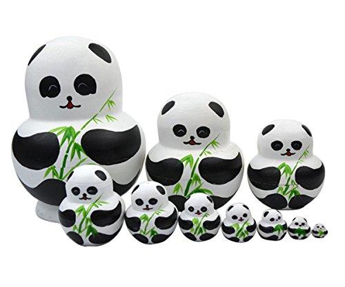 nicole Russische Matroschka Puppe Doll Souvenir Matrjoschka Babuschka 10 Stücken (Panda)