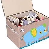 Tsingle, cassapanca portaoggetti per giocattoli, con coperchio, grande contenitore per bambini, in tela per riporre giocattoli, libri, biancheria da letto, 36 x 52 x 35 cm, 65 l (Elephant-M)