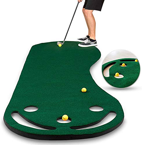 Golf Putting Green Grassroots Mat - 9ft by 3ft – Includes Free 3 Yellow Golf Balls - Ideal for...