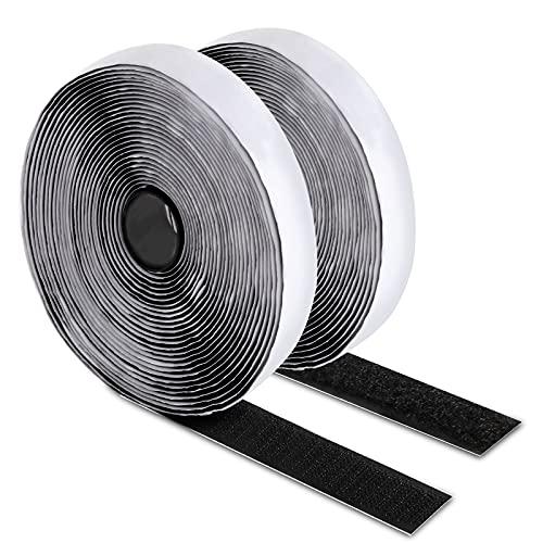 Atdorr adesivo per zanzariere adesivi per zanzariera biadesivo per tessuti Hook Loop Autoadesivo Utilizzato per zanzariere, finestre, cornici per foto, tappetini auto e fatti a mano 2CM x 1.8M nero