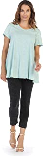Jess & Jane Women's Mint Mineral Washed Cotton Short Sleeve Tunic Top