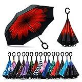 Sumeber Paraguas invertido de doble capa con mango en C que protege contra tormentas, viento, lluvia y rayos UV. Innovador paraguas