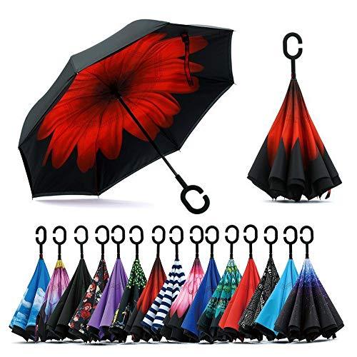 Sumeber Double Layer Reverse Regenschirm mit C Griff Schützen vor Sturm Wind Regen und UV-Strahlung Innovativer Regenschirm (Rouge Blume) …