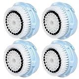 4 x cabezas de cepillo E-Cron. Cabezal de cepillo para la limpieza facial para la piel delicada de Clarisonic (Delicate). Compatible con Mia 1, 2, 3 (Aria), SMART Profile, Alfa Fit, Plus, Sonic Radiance.