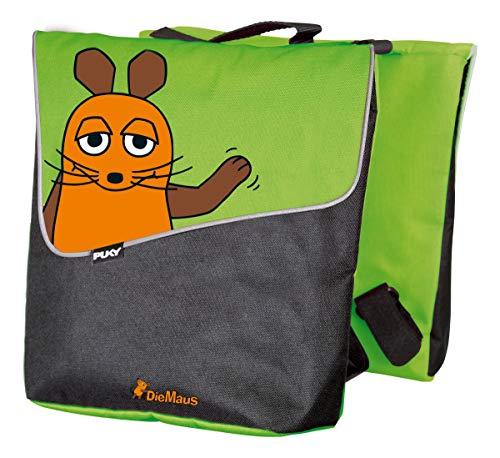 Puky DT 3 Kinder Fahrrad Gepäckträgertasche/Doppeltasche Die Maus grün/schwarz
