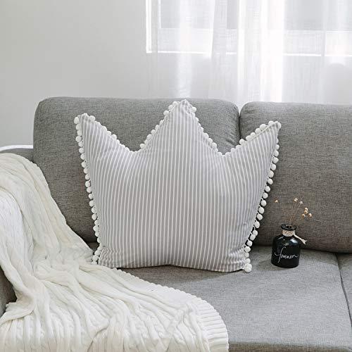 WANGXIN rosa Kissen Sofa Kissen gestreift Kronenkissen Persönlichkeit Heimdekoration abnehmbar mit Kern, grau, 50cm x 58cm