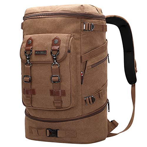 WITZMAN Travel Backpack for Men Women Canvas Backpack Carry on Luggage Rucksack Convertible Duffel Bag Large (A568 Brown)