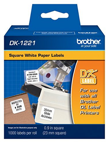 Brother DK1221 Square Paper Labels, 1000 Labels , White