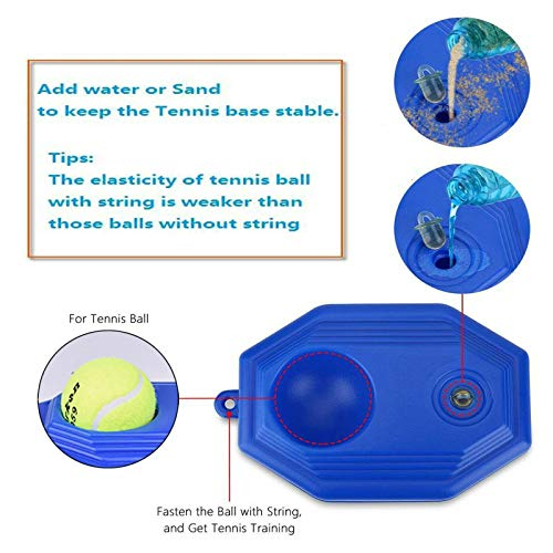 Tennis Trainer Rebounder Ball, Trainer Cemented Baseboard with Rope, Perfect Solo Tennis Trainer, Self-Study Tennis Rebound Player Training Aids Practice Great for beginners and intermediate players