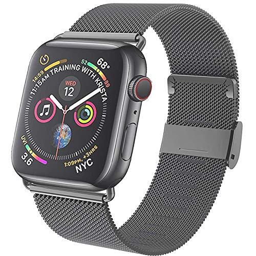Neoda Ersatzarmband Kompatibel mit Apple Watch Armband 42mm 44mm, Metal Edelstahl Einstellbar Armband mit Magnet Kompatibel mit iWatch Serie 6/5/4/3/2/1/SE - Grau