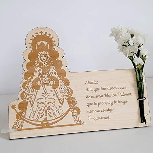 Placa de madera Virgen del Rocío con dedicatoria grabada, Blanca Palo