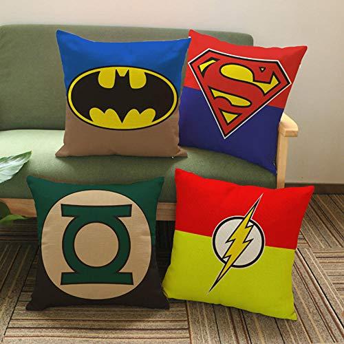 ZHAOCC Funda de cojín Conjunto de 4 Funda de Almohada de Lino Superhero Logo Pattern Pillow Set Batman Superman Funda de cojín Decorativo 45X45Cm