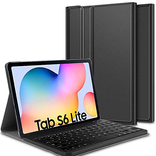 ELTD Tastatur Hülle für Samsung Galaxy Tab S6 Lite, Deutsches QWERTZ Layout magnetisch Abnehmbarer Kabellose Tastatur mit Ständer PU Schutzhülle für Samsung Galaxy Tab S6 Lite 10,4 Zoll 2020, Schwarz