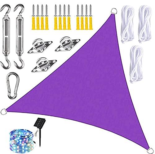 QXTT Vela Parasol con Luces LED, Las Cortinas del Patio del Paño de Oxford Impermeabilizan El Toldo del Patio Al Aire Libre del Toldo de La Protección Solar del Bloque,Purple-3x4x5m