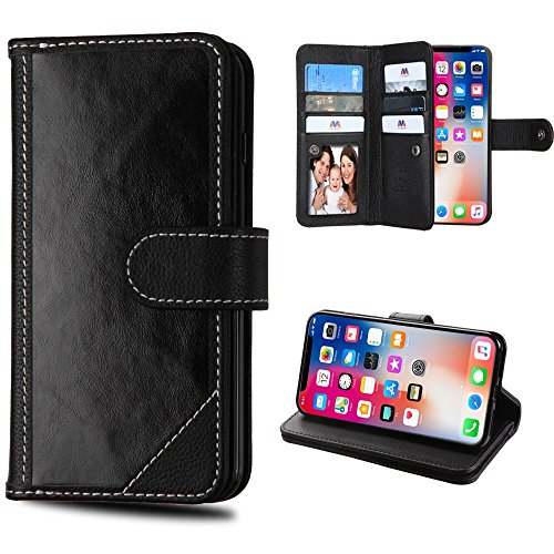 Case+TemperedGlass 3-Layer Mybat D'Lux MyJacket Purse/Clutch Fits Apple iPhone X/10/Xs Mybat D'Lux with Button Closure & Credit Card Slots MyJacket Genuine Real Leather Wallet - Black