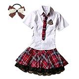 (fesley)赤チェック 白シャツ コスプレ 衣装 髪飾り 付 コスチューム(M)