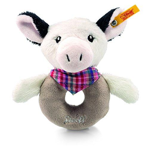 Steiff - 241048 - Happy Farm - Vache Cowaloo - Jouet de préhension avec crécelle