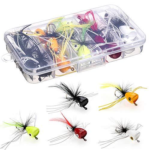 HXC Tamaño 6 Bass Pike Pesca Moscas Kit Agua Salada Trucha Perca Chub Fly Fishing Lures Set con caja de plástico Paquete de 15 piezas