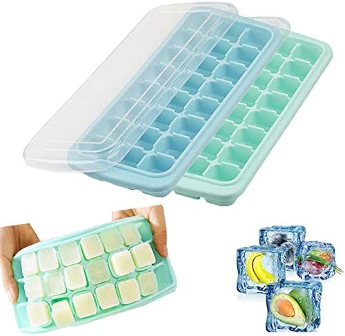 Ice Cube Trays 2 Pack Silicone Ice Cube Molds with Lid 24 Ice Tray Ice Trays Stackable BPA Free product image
