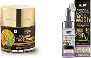 WOW Skin Science Vitamin C Face Cream - Oil Free & WOW Skin Science Charcoal Foaming Face Wash with Built-In Face Brush