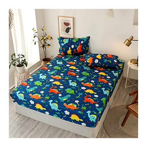 Juego de edredón King Tamaño Ropa de cama de lino Modelo grande Hoja de cama en forma de corazón-cama fijado for el colchón doble cubierta con elástico Sábana ( Color : Type 10 , Size : 90x200x25cm )