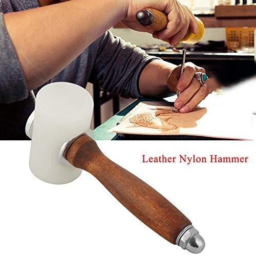 Martello di cuoio, martello in nylon con manico in legno a forma di t martello in nylon intagliato per artigianato in pelle kit di utensili in pelle per cucire