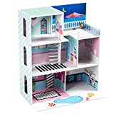 Costzon Kids Wooden Play Dollhouse, 3 Story Multifunction Doll Cottage with Balcony, Stairs, Living Room, Bathroom and Kitchen, Best Toy for Kids Boys Girls to Simulate Life