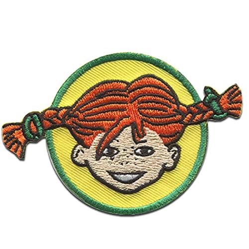 Pippi Långstrump © cabeza trenza - Parches termoadhesivos bordados aplique para ropa, tamaño: 8 x 5,4 cm