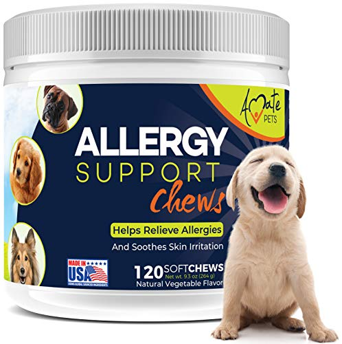 Allergy Relief Immune Supplement for Dogs - Soft Chews for Dog itching Skin Relief and Seasonal Allergies with Kelp, Colostrum Anti Itch/Itchy Dog Skin Allergy Treatment 120 Softchews by Amate Pets