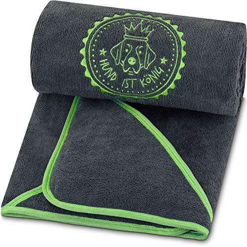 Toalla para perros prémium extra absorbente, ultra suave y esponjosa, toalla para perros de microfibra de alto rendimiento con 4 orificios, lavable a 60°, secado rápido, 130 x 75 cm